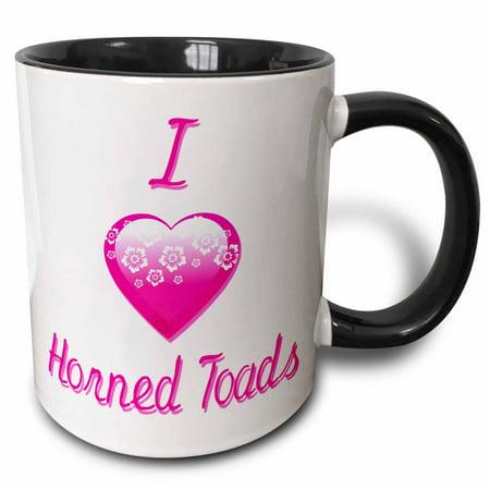 3dRose Pretty Pink Flowery I Love Horned Toads - Two Tone Black Mug, 11-ounce