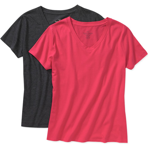 Faded Glory - Women's Plus-Size Short-Sleeve V-Neck Tees, 2-Pack