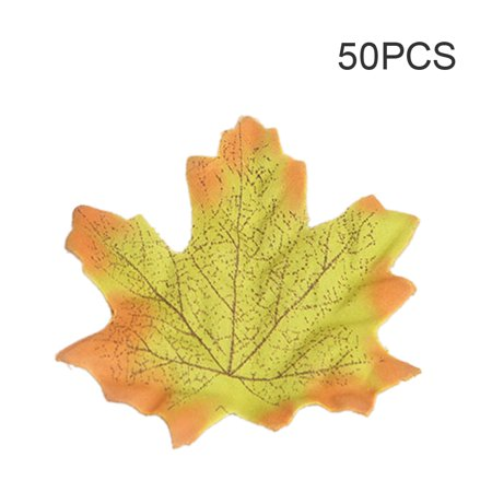 50Pcs Simulation Plant Photo Shoot Props Fake Silk Autumn Maple Leaves Artificial Fall Leaf Table Door Fall Wedding Party Birthday Baby Shower Decorations](Fall Door Decorations For School)