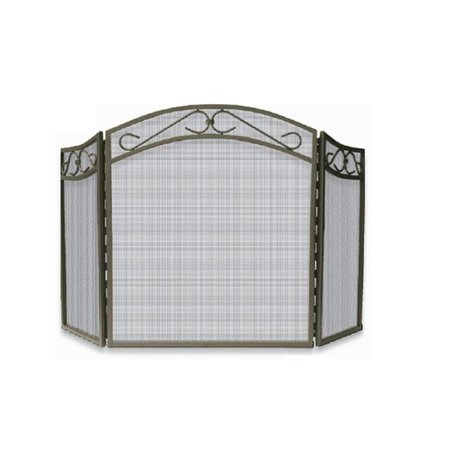 - 3 FOLD BRONZE WROUGHT IRON ARCH TOP SCREEN W/ SCROLLS