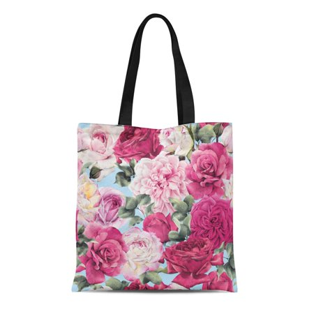 ASHLEIGH Canvas Tote Bag Colorful Flower Floral Pattern Roses Watercolor Green Summer Abstract Durable Reusable Shopping Shoulder Grocery -