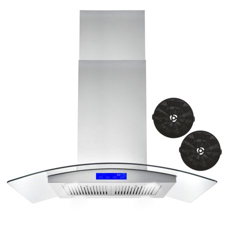 Cosmo 36 in. Ductless Island Range Hood in Stainless Steel with LED Lighting and Carbon Filter Kit for Recirculating Island Cooktop Hood