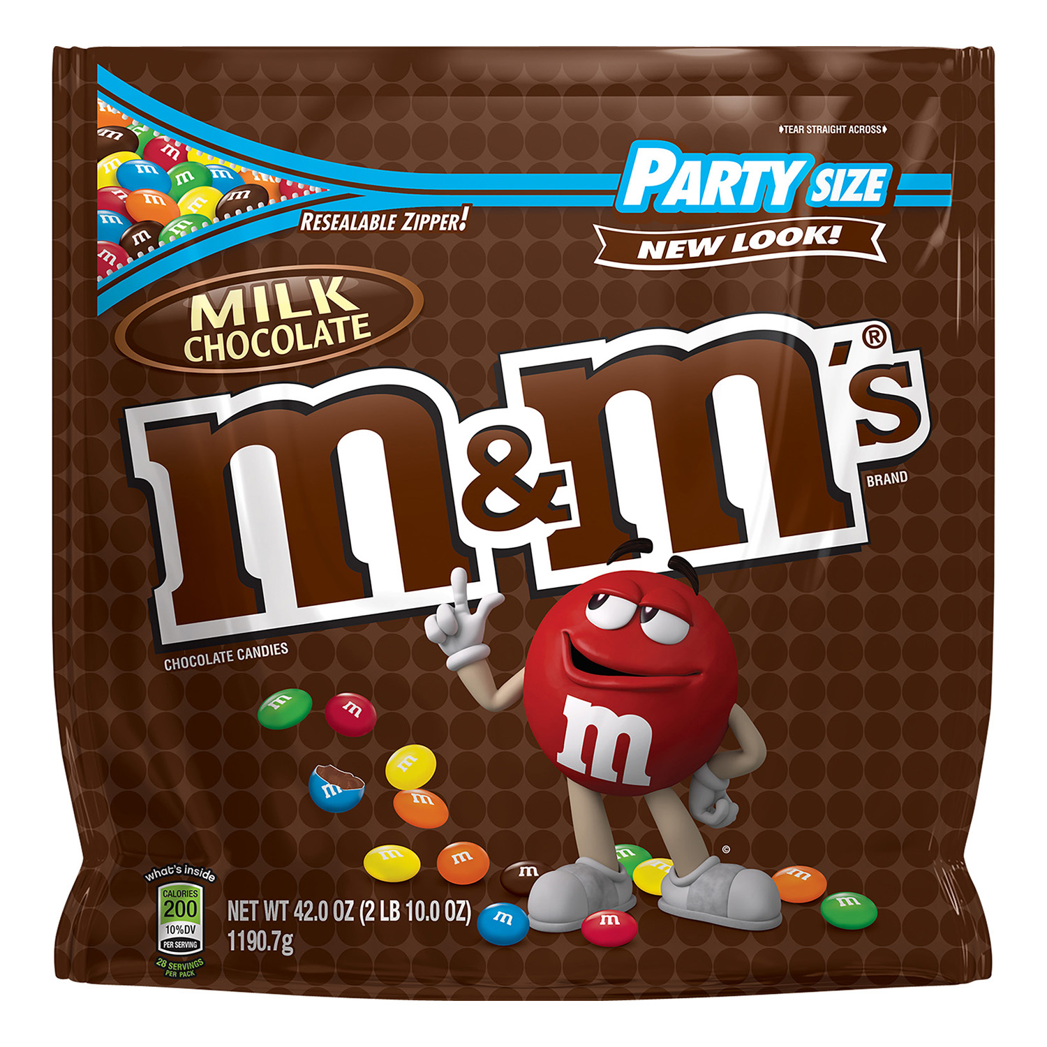 M&M's Milk Chocolate Candy, Party Size, 42 Oz