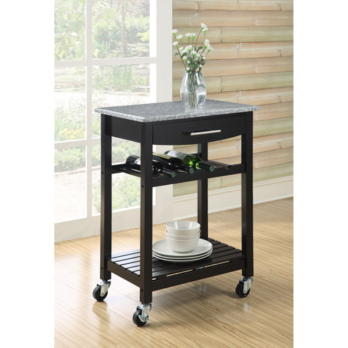 Dorel Home Rachel Granite Top Kitchen Cart, Black
