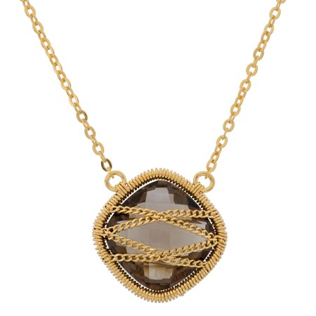 5th & Main 18KT Gold Over Sterling Silver Hand Wrapped Squared Smoky Quartz Stone Pendant Necklace *** ***