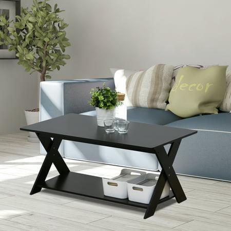 Furinno Modern Simplistic Criss-Crossed Coffee Table, Espresso