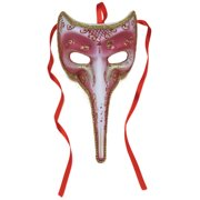 """Masquerade Venetian Long Nose Half Mask, Rose Red w Gold Accents, 9"""" Long"""