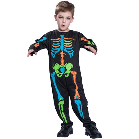 Unisex Child Baby Halloween Colorful Skeleton Jumpsuit Costume Masquerade Cosplay Party Props--M Size for 5-7 Years Old Kids - 1 Year Old Baby Boy Halloween Costumes