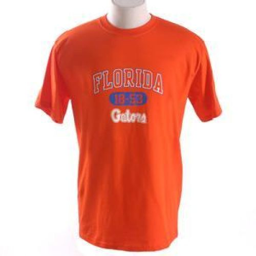 "Florida Gators T-shirt - Florida Arched Above Oval 18-53 Over ""gators"" - By Champion - Orange"