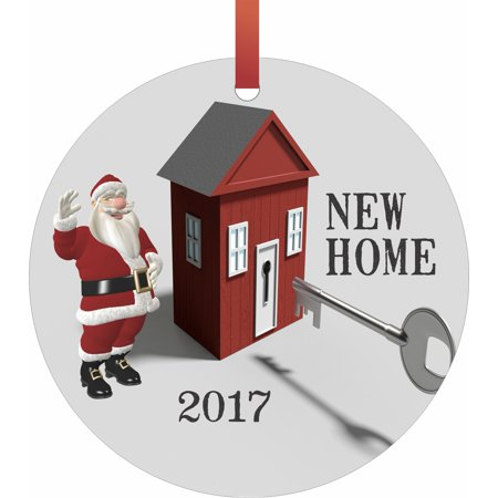 New Home - Santa - 2017  Flat Round - Shaped Christmas Holiday Hanging Tree Ornament Disc Made in the U.S.A.](Halloween Bank Holiday 2017)