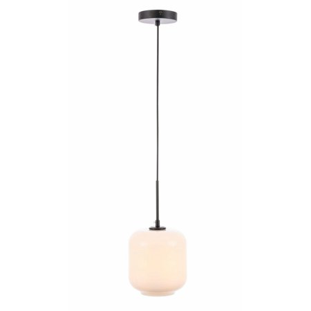 Collier 1 light Black and Frosted white glass pendant