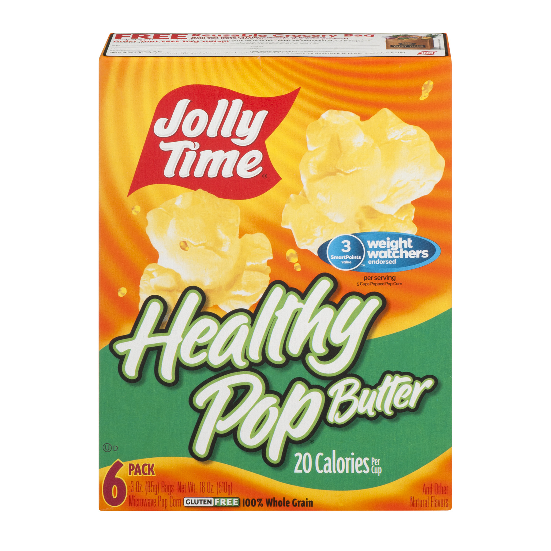 Jolly Time Healthy Pop Butter Microwave Pop Corn - 6 PK, 3.0 OZ