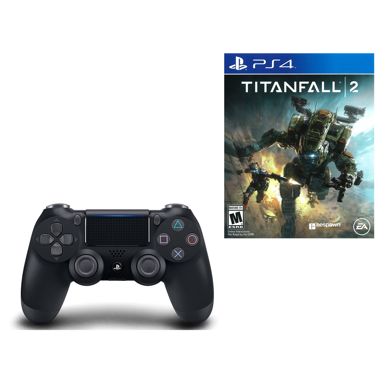 PlayStation 4 DualShock 4 Wireless Controller Black and Titanfall 2 Video Game by Sony