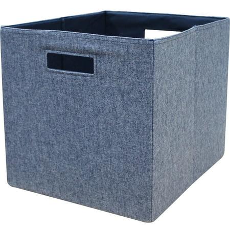 "Better Homes & Gardens Fabric Cube Storage Bins (12.75"" x 12.75""), Set of 2, Washed Indigo"