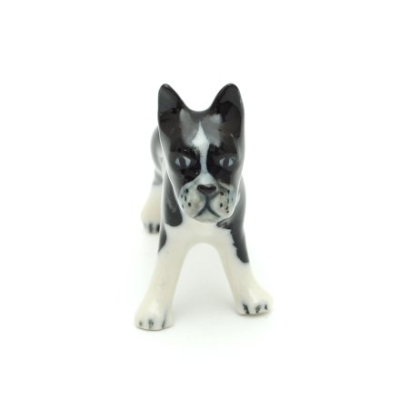 Handmade Miniatures Ceramic Looking Straight Black French Bulldog Squirrel Figurine Animals Decor/Animal Collection