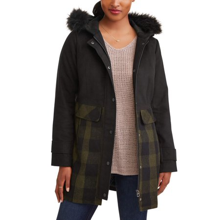 JASON MAXWELL Women's Long Faux Wool Jacket with Hood