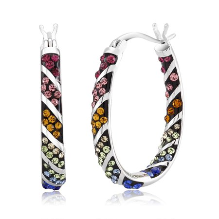 Colored Shell Earrings (Multi colored Crystal Hoop Earrings)