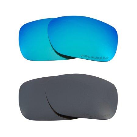 TWOFACE Replacement Lenses Polarized Blue & Black Iridium by SEEK fits (Oakley Holbrook Blue Iridium)