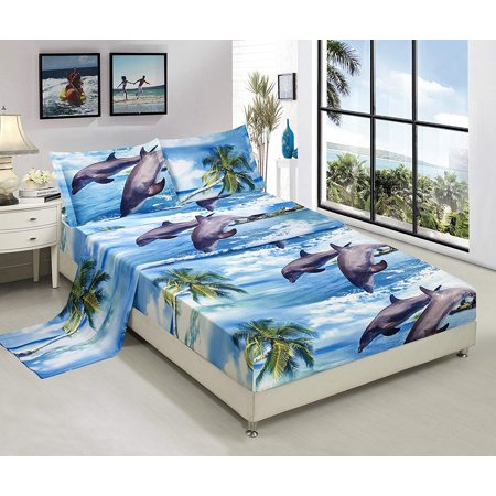 3D Bed Sheet Set Queen -4 Piece 3D Dolphin And Palm Tree Printed Sheet Set Queen Size (D12) - Soft, Breathable, Hypoallergenic, Fade Resistant -Includes 1 Flat Sheet,1 Fitted Sheet,2 Shams (Queen Padme)