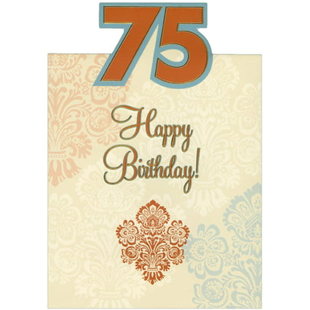 Designer Greetings Embossed Foil Trimmed Letters on Cream Die Cut Top Fold Age 75 / 75th Birthday Card ()