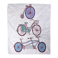 ASHLEIGH Semtomn Decorative Throw Blanket 58x80 Inches Colorful Tandem Vintage Bicycle on Activities Basket Bike City Warm Flannel Soft Blanket for Couch Sofa Bed