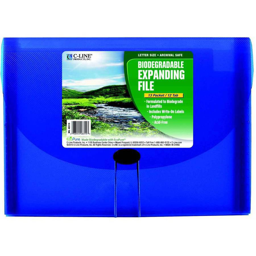 C-Line Polypropylene Biodegradable Expanding File, Letter Size, 7 Pockets, Blue