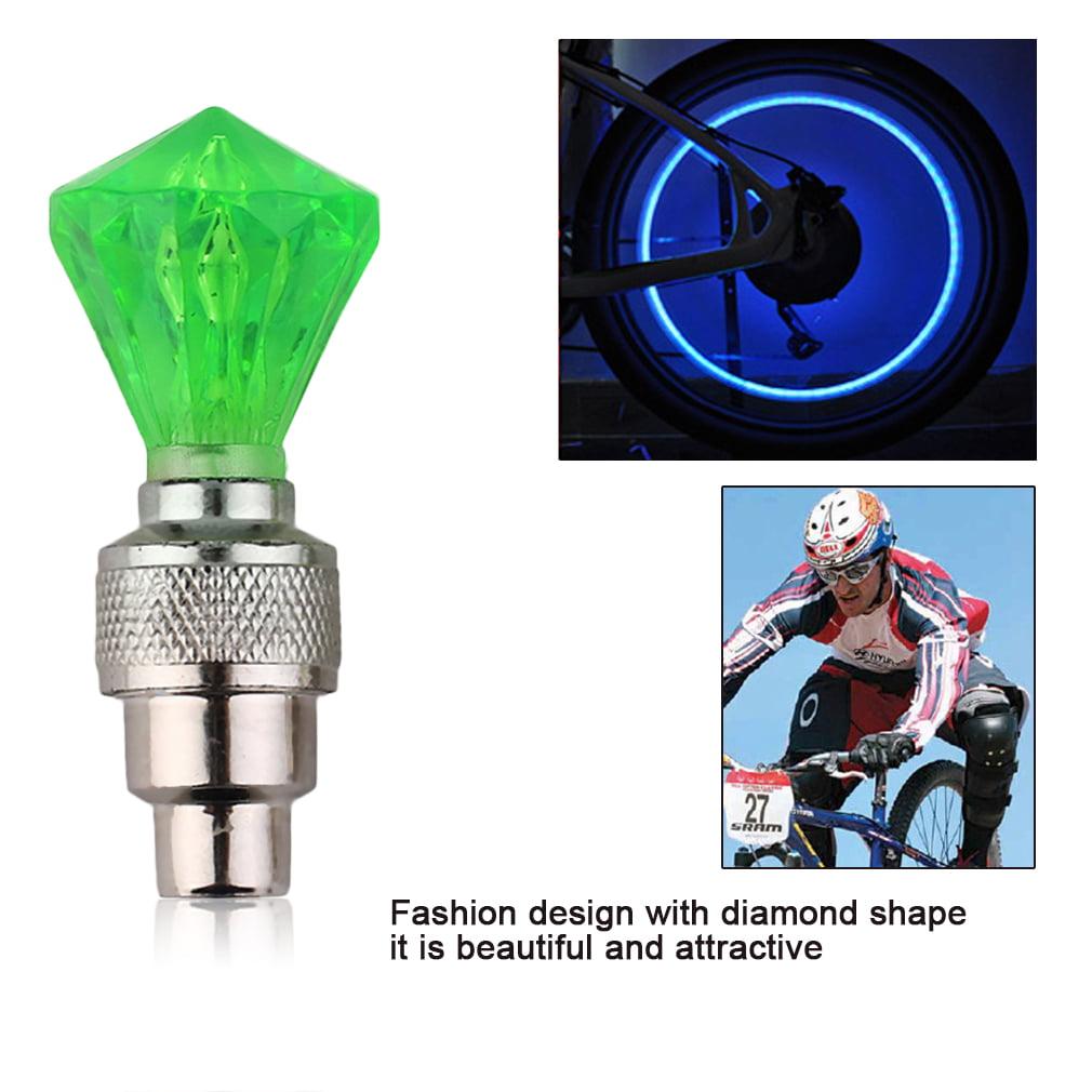 Fashion Style Bicycle Diamond Shape Wheels LED Light Bike Lamp Nozzle Flash Cycling Valve Cap Outdoor Sports Bicycle Light