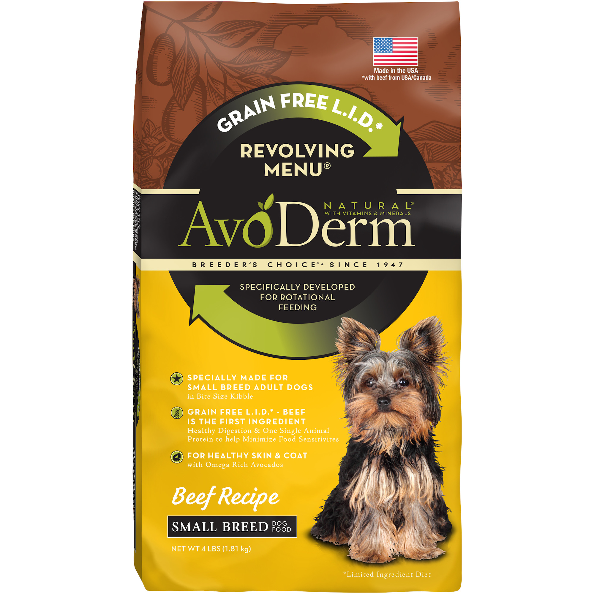 AvoDerm Natural Revolving Beef Recipe Menu for Small Breed Adult Dog Food, 4 lb.