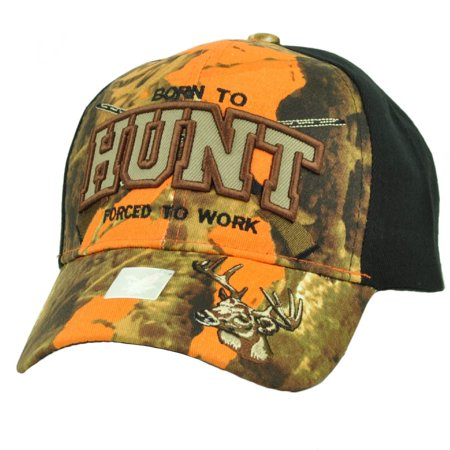 Born To Hunt Forced To Work Orange Camouflage Black Hat Cap Adjustable Hunting