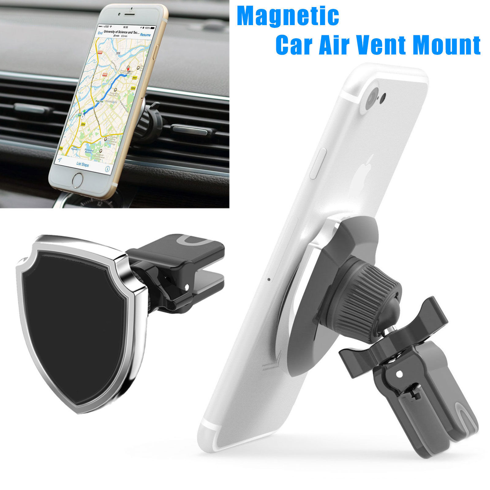 Car Mount, TSV Universal Air Vent Magnetic Car Mount Holder for Smartphones iPhone X 8 7, Samsung Galaxy S9 S8,Google Pixel,LG and GPS, 360°Rotation, Silver
