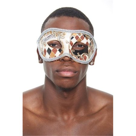 Kayso PM018SL Silver Venetian Plastic Masquerade Mask with Checkered Design & Silver Contour