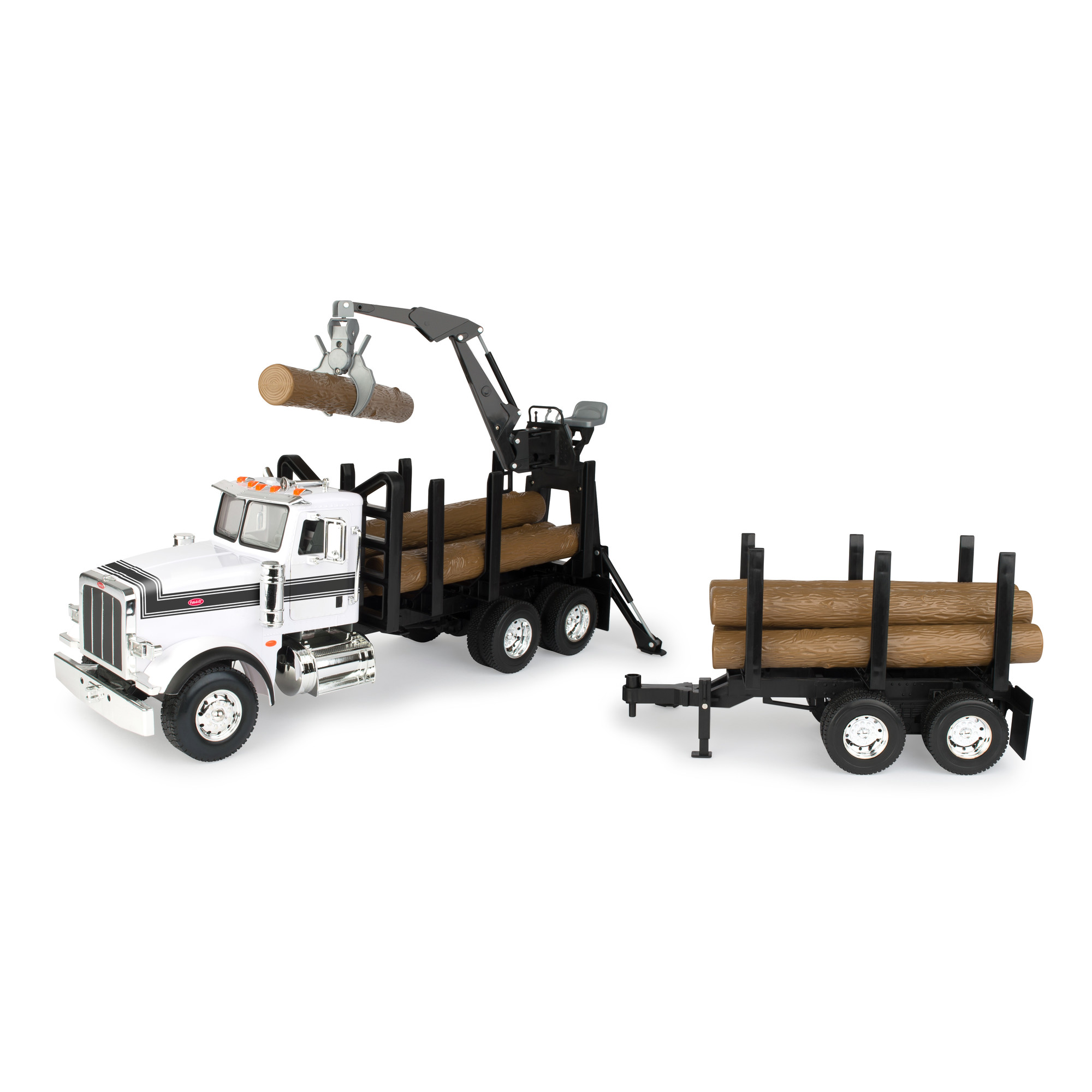 Big Farm Peterbilt Model 367 Logging Truck with Pup Trailer and Logs by TOMY