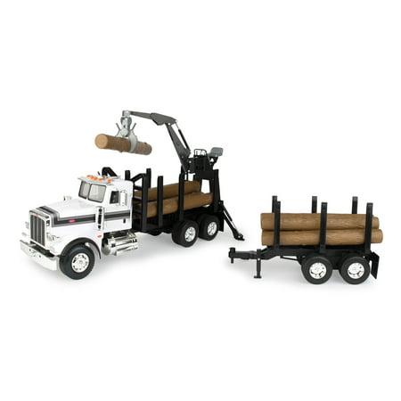 Big Farm Peterbilt Model 367 Logging Truck with Pup Trailer and Logs