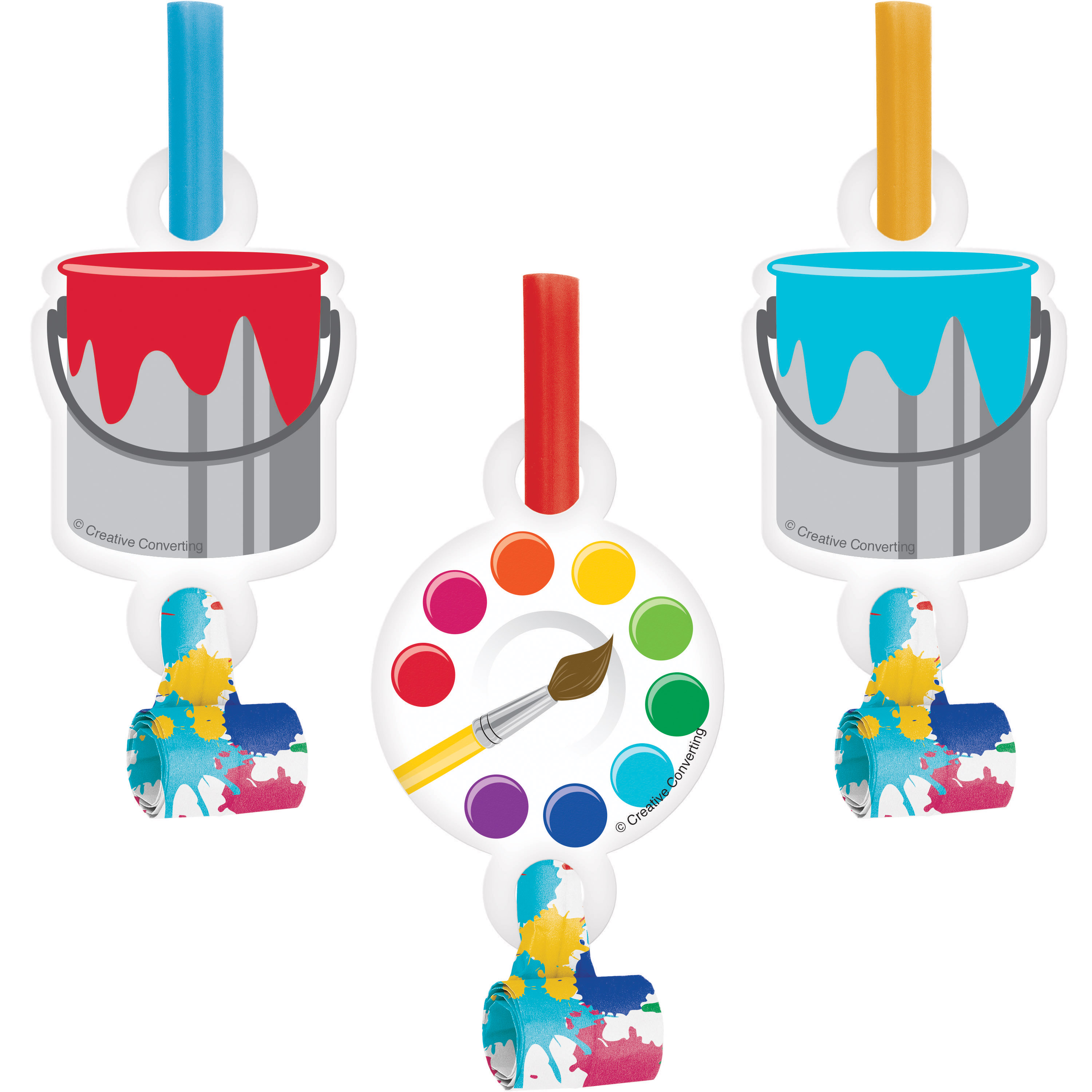 Art Party Party Blowers, 8 pk