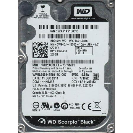 WD2500BEKT-75PVMT1, DCM HHNTJAB, Western Digital 250GB SATA 2.5 Hard Drive