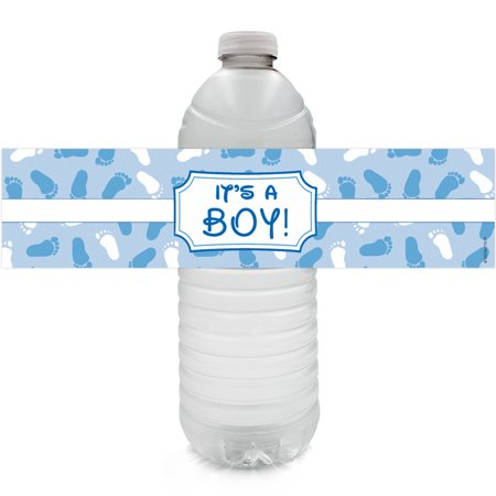 Boy Baby Shower Water Bottle Labels 24ct | Blue Decoration Stickers (Baby Boy Baby Shower Decorating Ideas)
