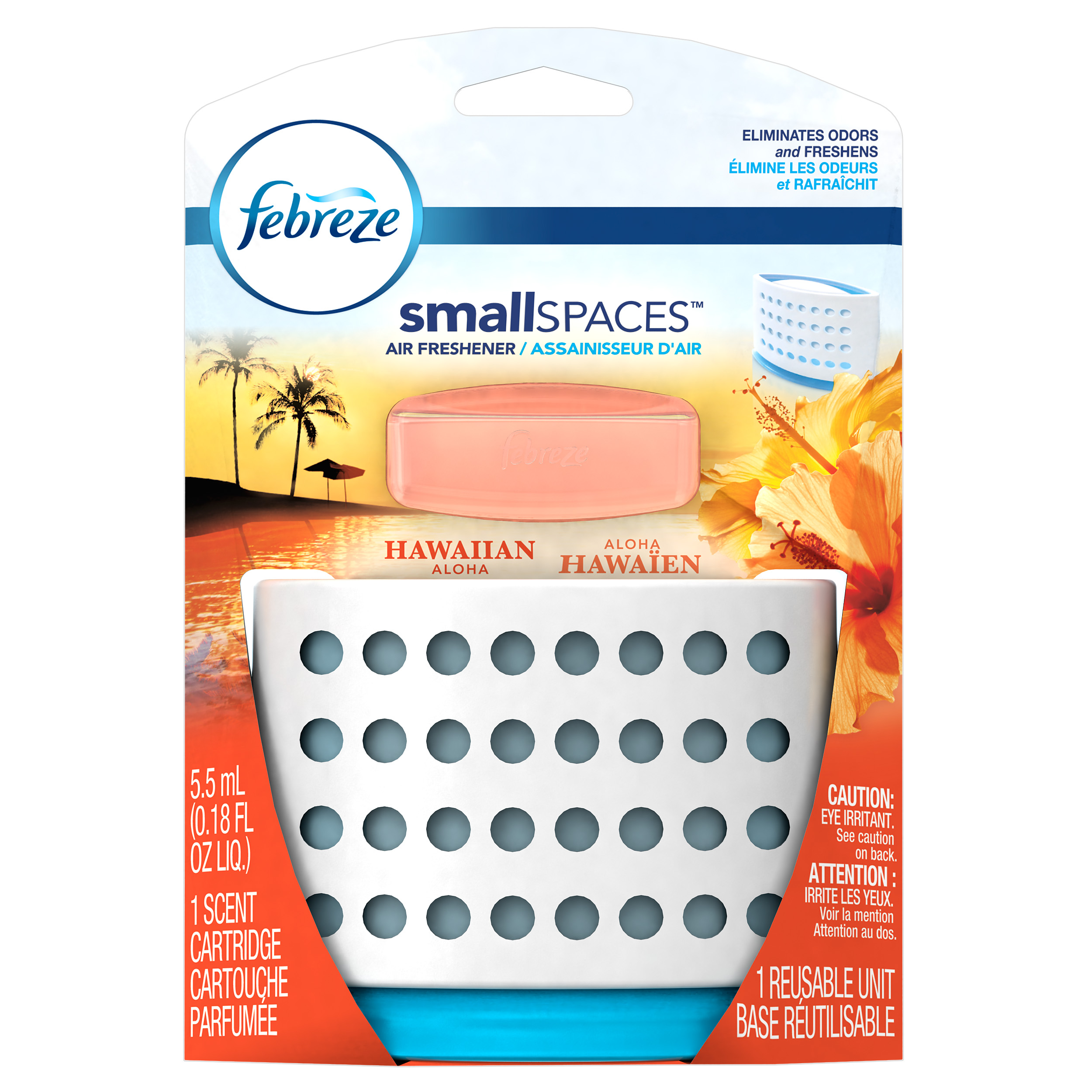 Febreze SmallSpaces Hawaiian Aloha Starter Kit Air Freshener, 1 Count, 5.5 ml