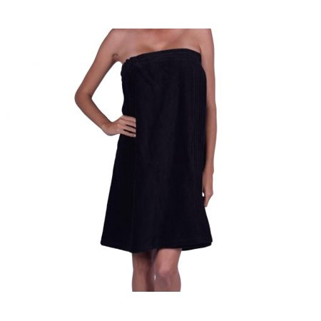 PNE Enterprises - Women s 100% Terry Velour Cotton Adjustable Hook and Loop  Strap Spa Towel Bath Wrap  US Seller  - BLACK (Made with TURKISH COTTON) -  Made ... 2007559c9