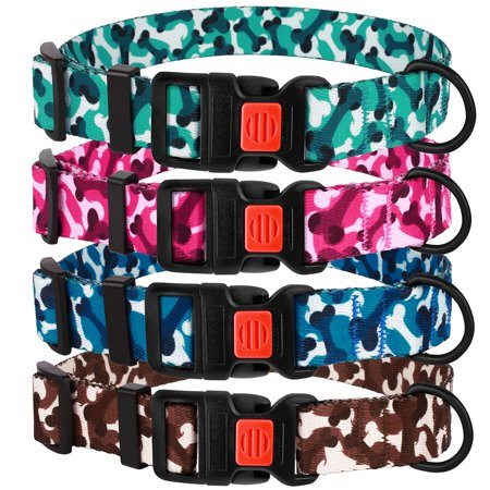 Camo Dog Collar Adjustable Nylon Collars for Medium Dogs with Buckle Camouflage Design, Mint