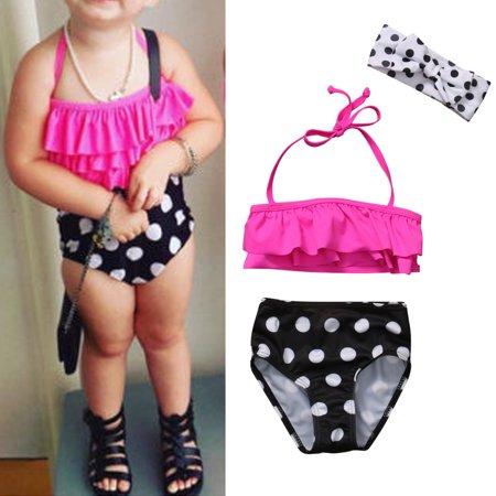 3Pcs Toddler Kids Baby Girls Toddler Polka Dots Swimsuit Swimwear Bathing Suit Tankini Bikini Set