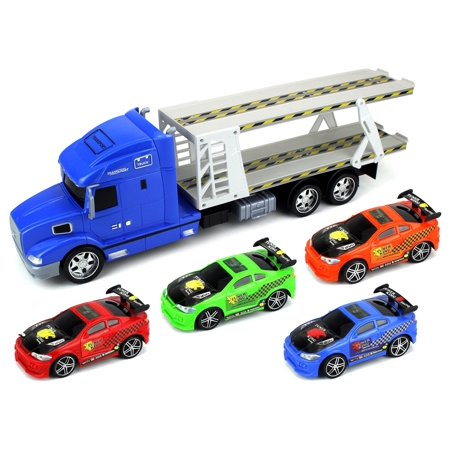 Tuner King Trailer Childrens Friction Toy Transporter Truck Ready To Run 1 24 Scale W  4 Toy Cars  Colors May Vary