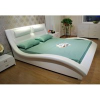 Greatime B1141 Wave-like Shape Upholstered Modern Platform Bed, Queen, White