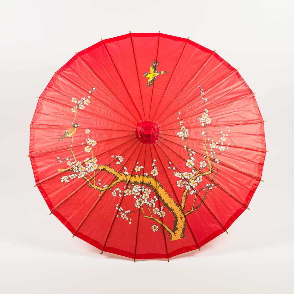 "Quasimoon 32"" Red Cherry Blossom Paper Parasol (10 PACK) by PaperLanternStore"