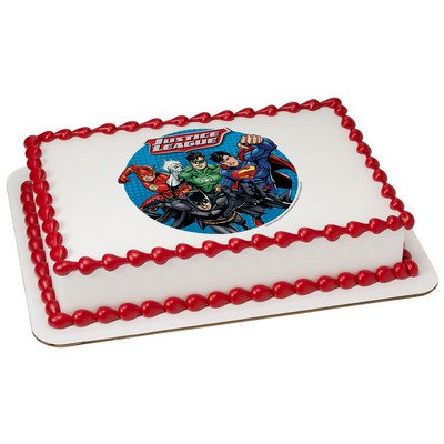 Justice League Edible Icing Image Cake Topper ( 7.5 inch Round)](Justice League Cake)