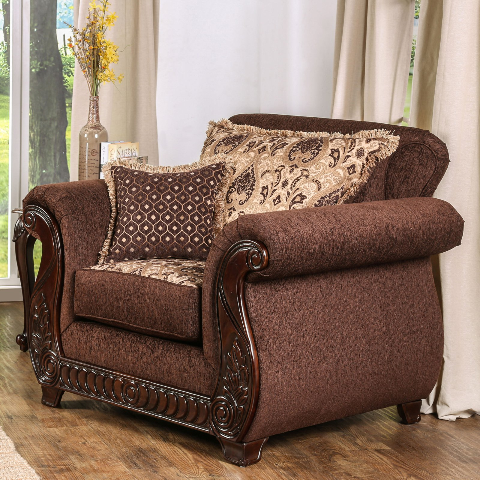 Furniture Of America Sala Traditional Style Fringe Accent Pillow Arm Chair