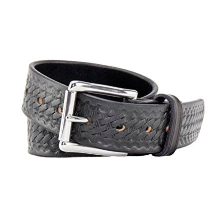 The Ultimate Concealed Carry CCW Leather Gun Belt - Basket Weave Pattern -1 1/2 inch Premium Full Grain Leather Belt - Handmade in the USA! Black Size