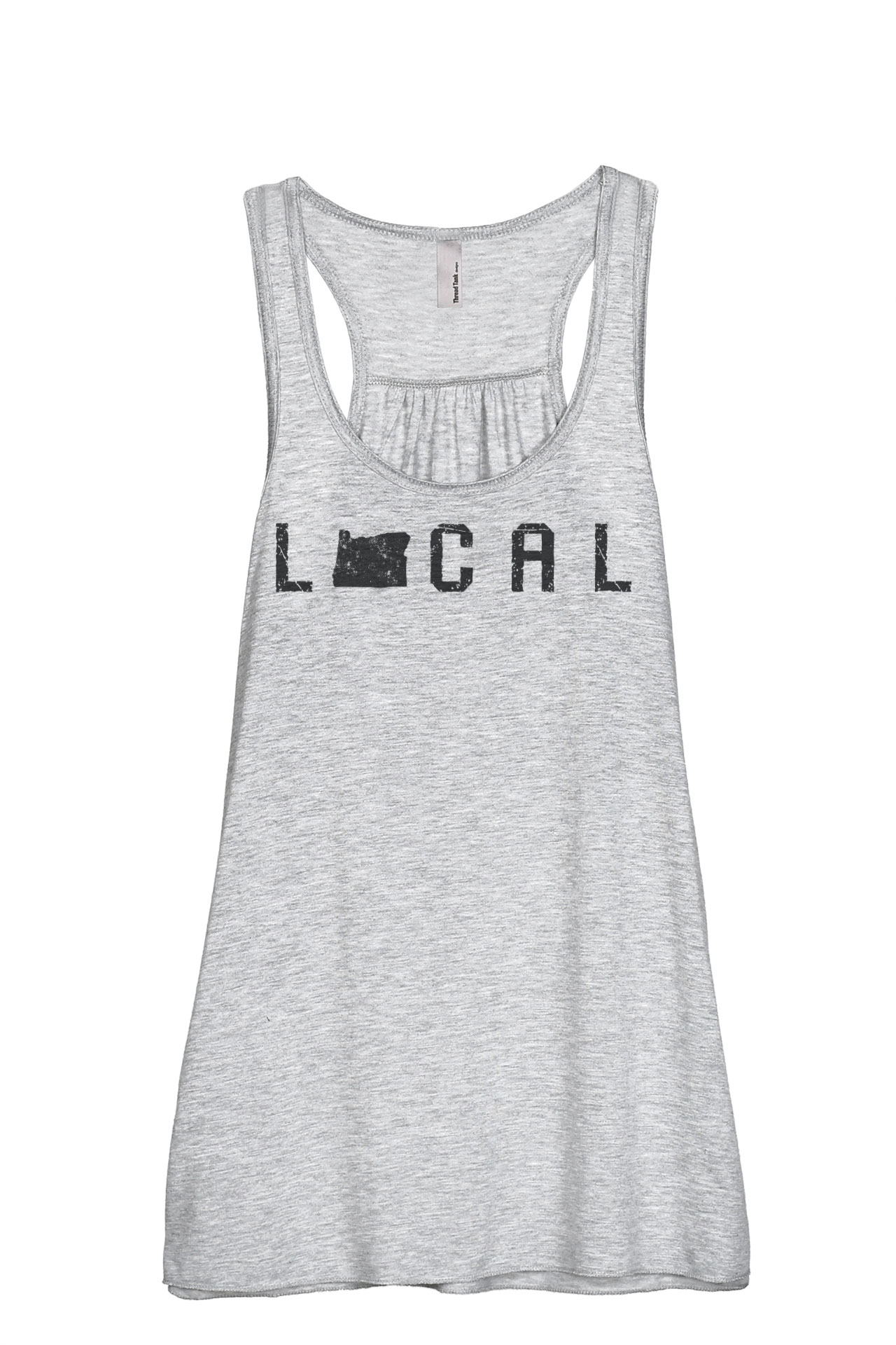Thread Tank Local Oregon State Women's Sleeveless Flowy Racerback Tank Top Charcoal Small by