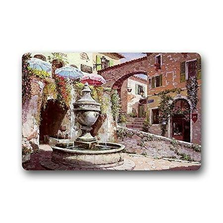 WinHome Most Beautiful France T Paul De Vence Town Watercolor Painting Doormat Floor Mats Rugs Outdoors/Indoor Doormat Size 30x18 - Town Rug