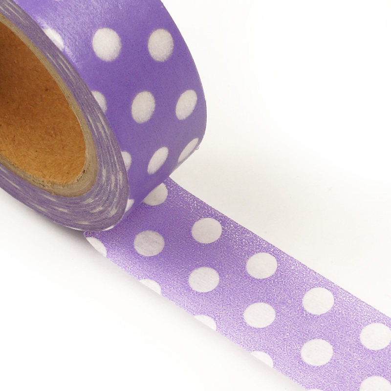 """9/16"""" X 10 Yards Lavender W/White Large Dot Washi Tape  by Paper Mart"""