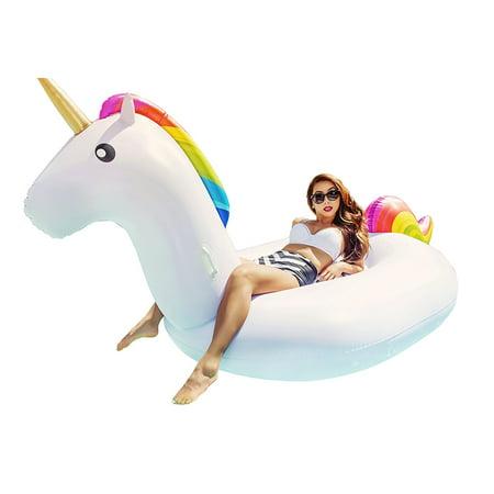 Inflatable Floaties (Giant Inflatable Unicorn Pool Float Swim Toy Floatie Raft by Captain Floaty (Over 8 Feet)